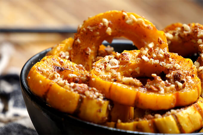 Roasted Delicata Squash with Grilled Cheese {almonds + garlic}