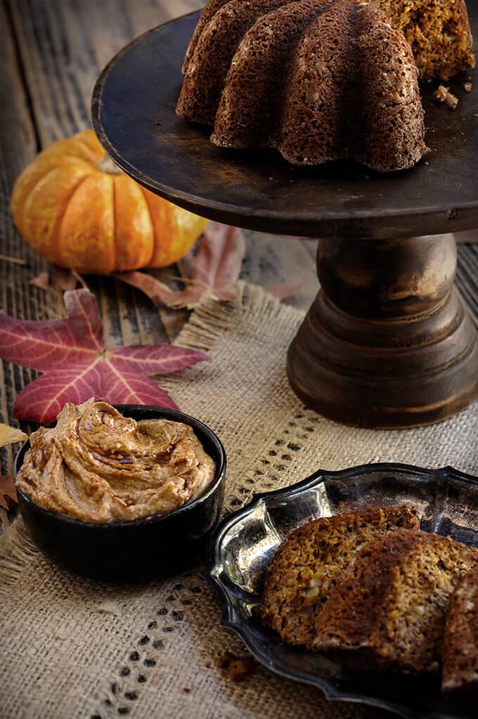 Flourless pumpkin coconut bread with spiced pecan pumpkin butter | www.viktoriastable.com