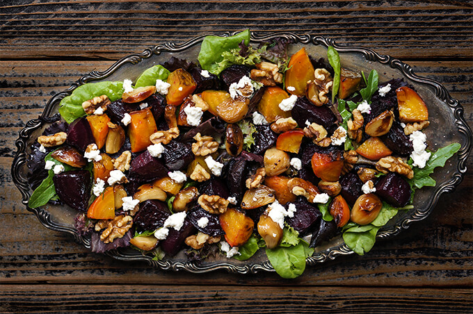 Roasted beets salad with caramelized garlic, toasted walnuts and goat cheese | www.viktoriastable.com