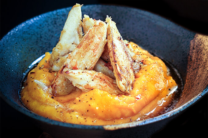 Sauteed crab over squash puree | www.viktoriastable.com