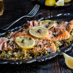 Baked salmon with creamy leeks is a classic and all time favorite - simple, yet absolutely delicious, it will become your favorite salmon recipe! | www.viktoriastable.com