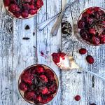 Chocolate cranberry breakfast parfait