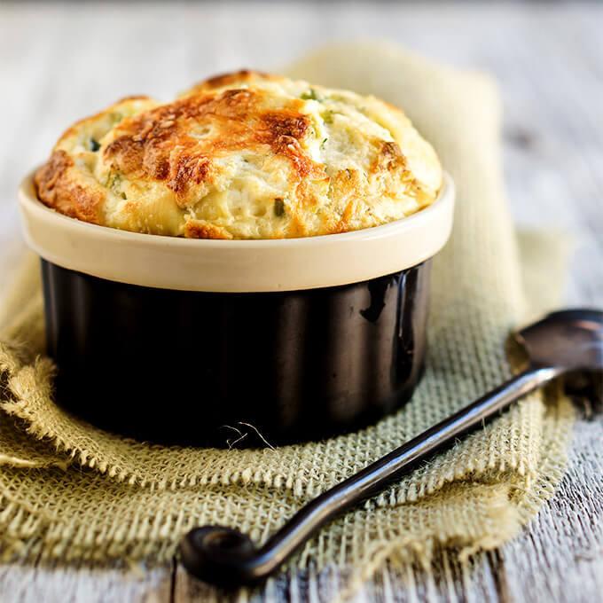Leeks and feta cheese souffle