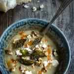 Cauliflower fennel soup {crispy basil + feta cheese}