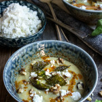 Cauliflower fennel soup - topped with crispy basil, feta cheese, toasted walnuts and paprika butter sauce. Delicious, and healthy, perfect for a cold winter day. | www.viktoriastable.com