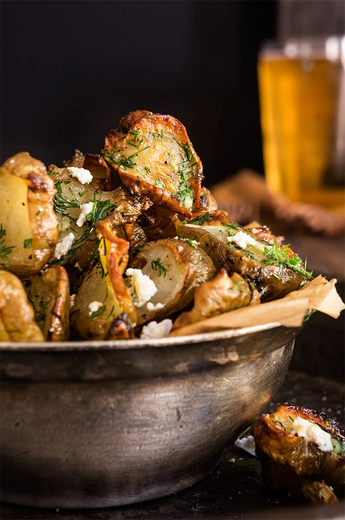 Roasted Jerusalem artichokes {feta + garlic dill butter}