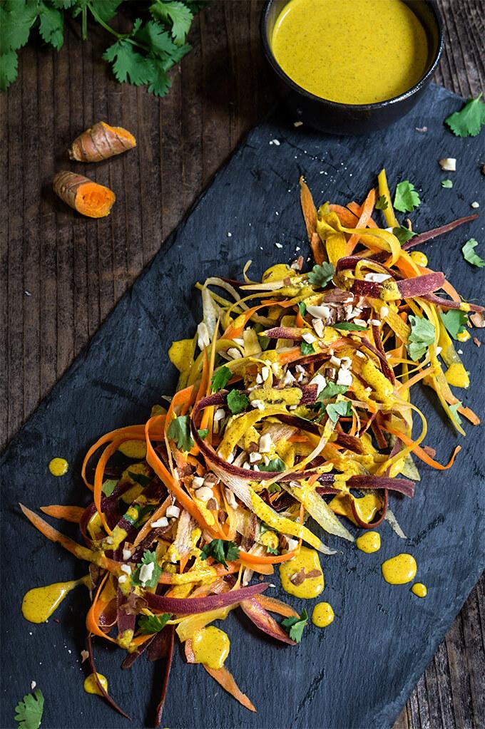 Carrot almond salad {fresh turmeric + coconut dressing}