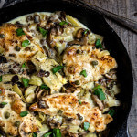 The best chicken scaloppine recipe - sauteed mushrooms and artichokes, smoky pancetta and tangy capers, in luscious lemon butter sauce - simply divine! | www.viktoriastable.com