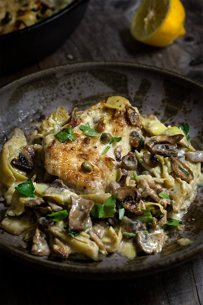 Chicken scallopini with mushrooms and artichokes {pancetta + capers ...