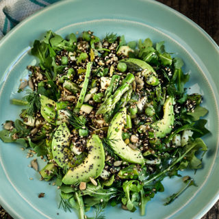 Seeds and greens kaniwa salad