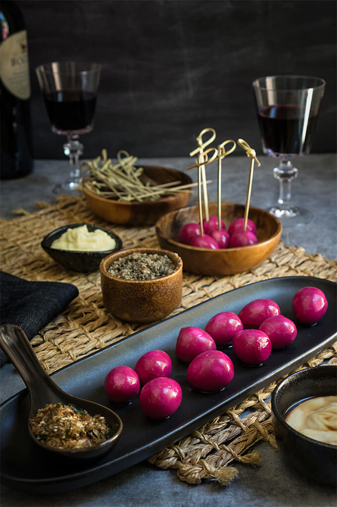These cute pickled quail eggs are as delicious as they are stunning to look at - served with horseradish mayo, and furikake, they make a spectacular appetizer. | www.viktoriastable.com