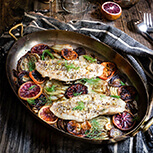 Baked rockfish with fennel and blood oranges - caramelized fennel, roasted blood oranges and juicy white fish fillets - you get a burst of citrusy, fresh flavors, and a vibrant, delicious dinner that's sure to impress, and is quick and easy to make.