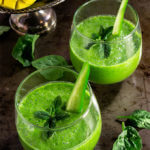 Skinny green smoothie - cucumber, lemon, and mint give this green smoothie a great fresh taste, mango makes it slightly sweet and creamy, and baby spinach provides all the green health benefits. | www.viktoriastable.com