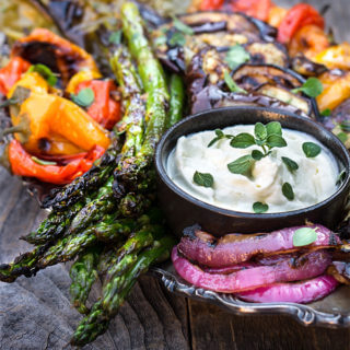 Marinated Grilled Vegetables with Whipped Goat Cheese