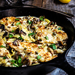 The best chicken scaloppine recipe - sauteed mushrooms and artichokes, smoky pancetta and tangy capers, in luscious lemon butter sauce - simply divine!