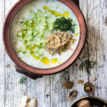 Cold cucumber yogurt soup {garlic + walnuts + dill}