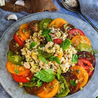 Garlic tuna tomato salad {mustard vinaigrette + capers}