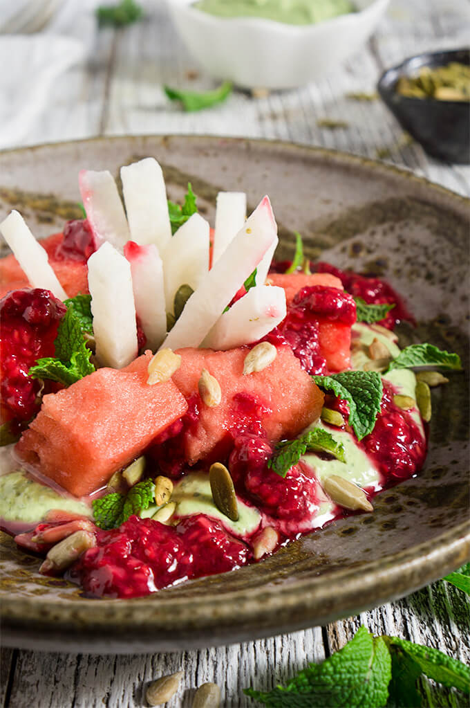 Watermelon jicama mint salad - it's a mouthwatering combination of contrasting flavors and textures - creamy, and crunchy, sweet and tart, but most of all delicious and refreshing! | www.viktoriastable.com