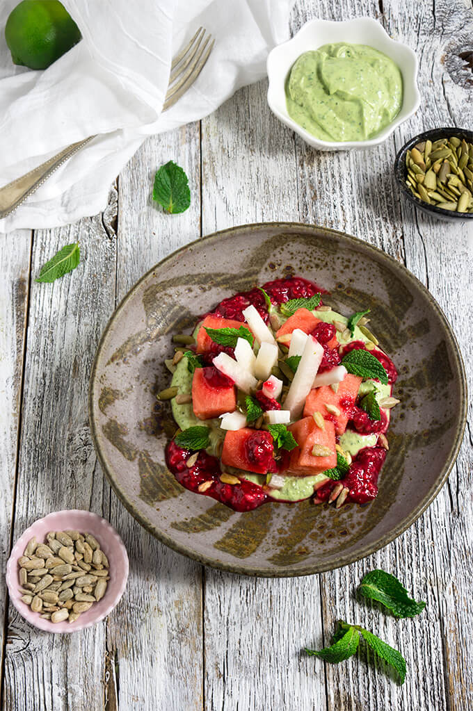 Watermelon jicama mint salad - it's a mouthwatering juxtaposition of flavors and textures - creamy, and crunchy, sweet and tart, but most of all delicious and refreshing! | www.viktoriastable.com