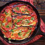 Baked eggplant in tomato garlic sauce and feta cheese | www.viktoriastable.com