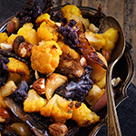 Warm autumn side dish made of roasted cauliflower, portobello mushrooms, red onions and hazelnuts. | www.viktoriastable.com