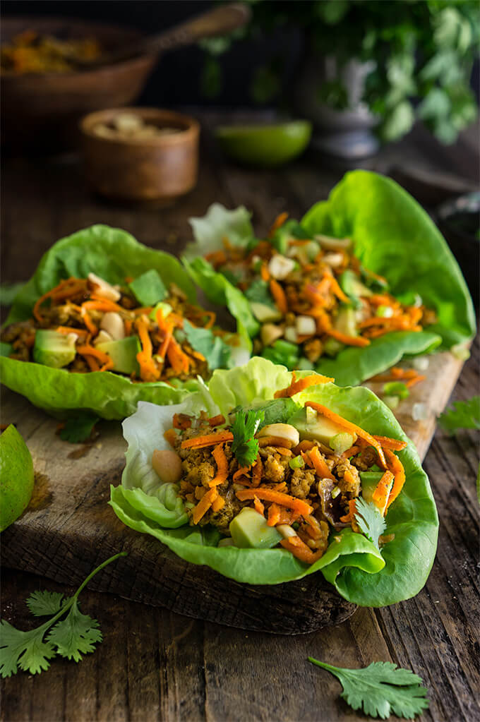 Spiced ground turkey lettuce wraps {avocado + peanuts