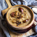Caramelized onion, lentils and mushroom soup {smoked sausage + fennel pollen}