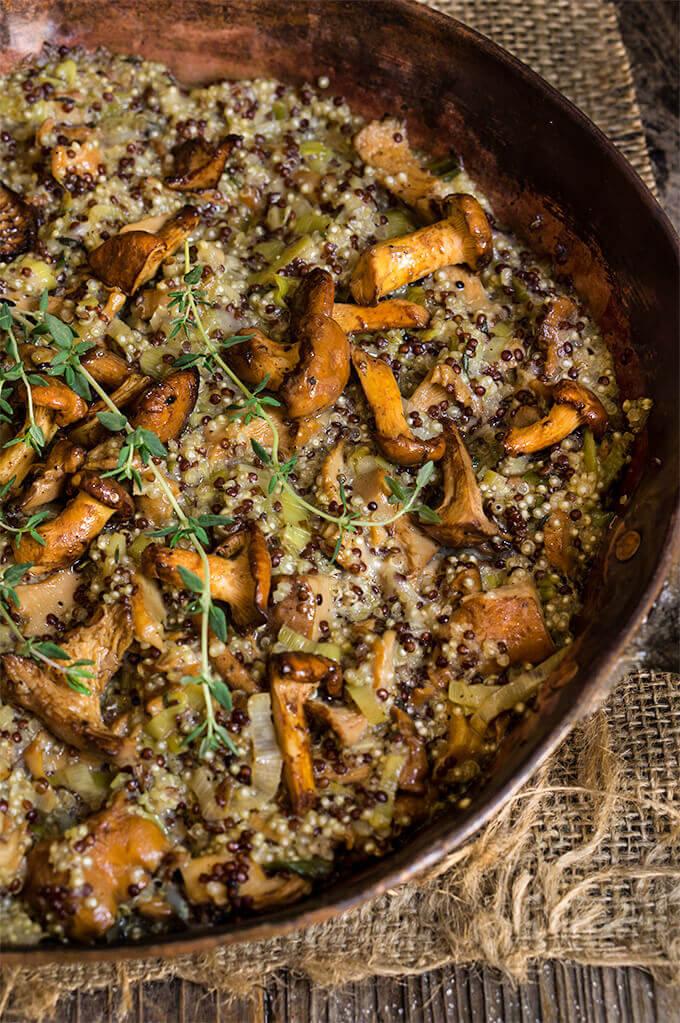 Creamy mushroom and leek quinoa risotto {mascarpone ...