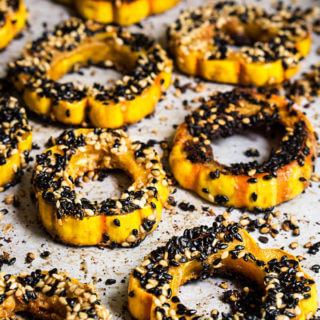 Sesame-roasted, maple chipotle delicata squash