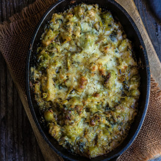 Creamy Brussles sprouts and leeks {garlic + parmesan}
