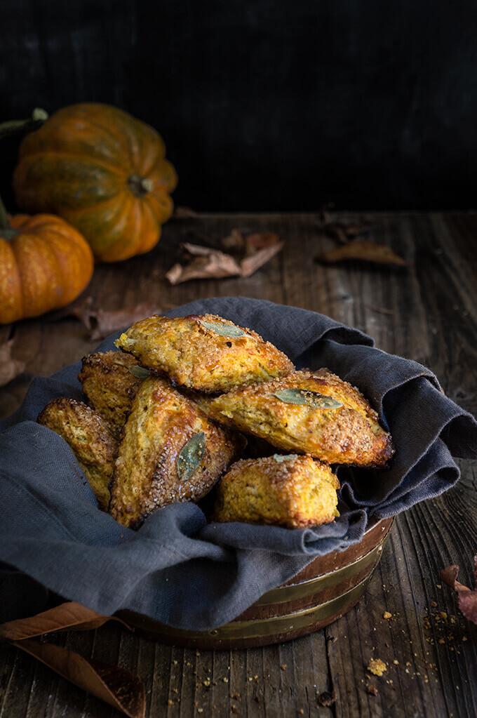 Pumpkin sage scones - tender buttery crumb, sugary crust and the most delicious, delicate pumpkin flavor, perfumed with mild sage, nutmeg and cinnamon. | www.viktoriastable.com