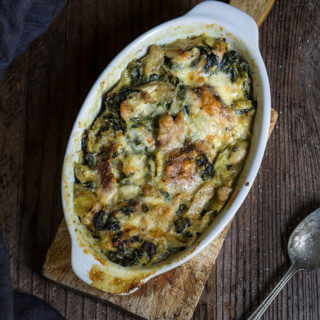 Spinach artichoke chicken casserole {Thanksgiving leftovers recipe}