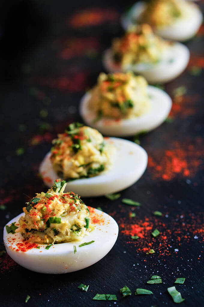 Crab deviled eggs - seasoned with fresh tarragon, and a touch of ...