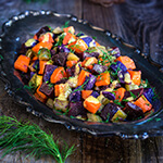 Beet and carrot salad with mustard garlic vinaigrette - boiled root veggies, crunchy pickles and lots of fresh dill drizzled with a lovely mustard garlic dressing - a fantastic winter salad that's easy on the calories, yet filling and satisfying. | www.viktoriastable.com