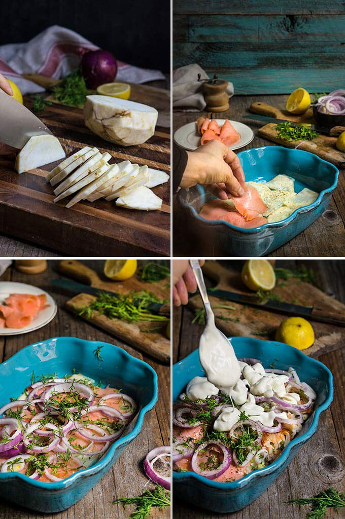 Celery root and smoked salmon gratin - in this creamy dish, aromatic celery root pairs beautifully with smoked fish, red onions and dill-flavored creme fraiche for a quick and easy dinner.   www.viktoriastable.com