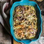 Celery root and smoked salmon gratin