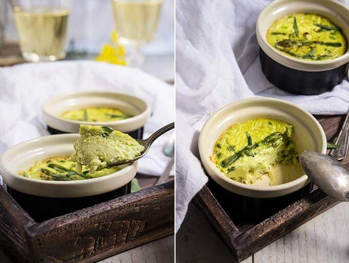 Asparagus flan with crab meat, bacon and tarragon - this luscious savory custard, infused with the delicate flavors of asparagus, crab meat, and fresh tarragon is so light and airy, and tastes absolutely sublime! | www.viktoriastable.com