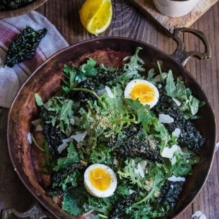 Kale salad with low fat caesar dressing {garlic breadcrumbs + soft-boiled eggs}