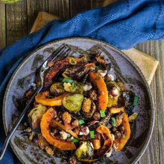 Roasted brussels sprouts and squash salad with horseradish dressing