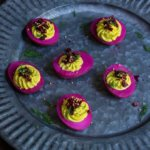 Beet-pickled curry deviled eggs