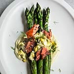 Asparagus with smoked salmon and gribiche - seared fresh asparagus, topped with creamy, cold sauce Gribiche, and smoked salmon make a great lunch, brunch or dinner, ready in 20 minutes. | www.viktoriastable.com