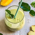 Coconut kaffir lime cooler - with its clean, refreshing taste, intriguing aroma, and a good amount of healthy fat, this smoothie is a great breakfast alternative on a hot morning.   www.viktoriastable.com