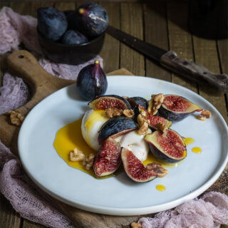 Burrata with figs, honey and salted walnuts