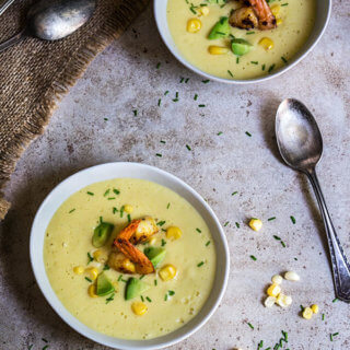 Chilled corn soup with garlic shrimp and avocado