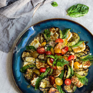 Grilled halloumi and summer squash Caprese salad