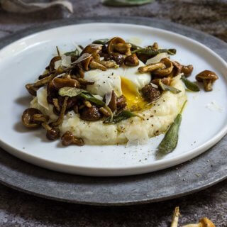 Truffled cauliflower puree with mushrooms and sage butter - creamy and delicious dish, infused with the earthly aroma of truffles and sage, and topped with an oozy egg. | www.viktoriastable.com