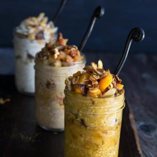 3 overnight pie oats {apple pie, pumpkin pie, coconut pie}