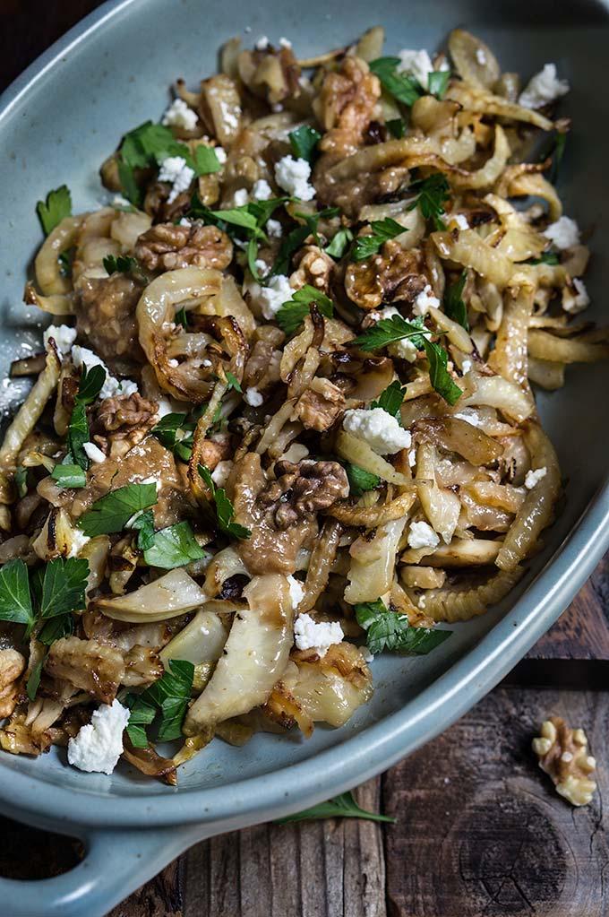 Caramelized fennel with roasted garlic lemon vinaigrette   www.viktoriastable.com