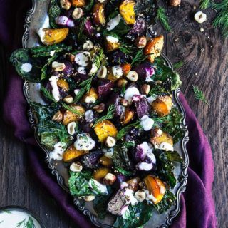 Roasted beets and kale salad with horseradish crema