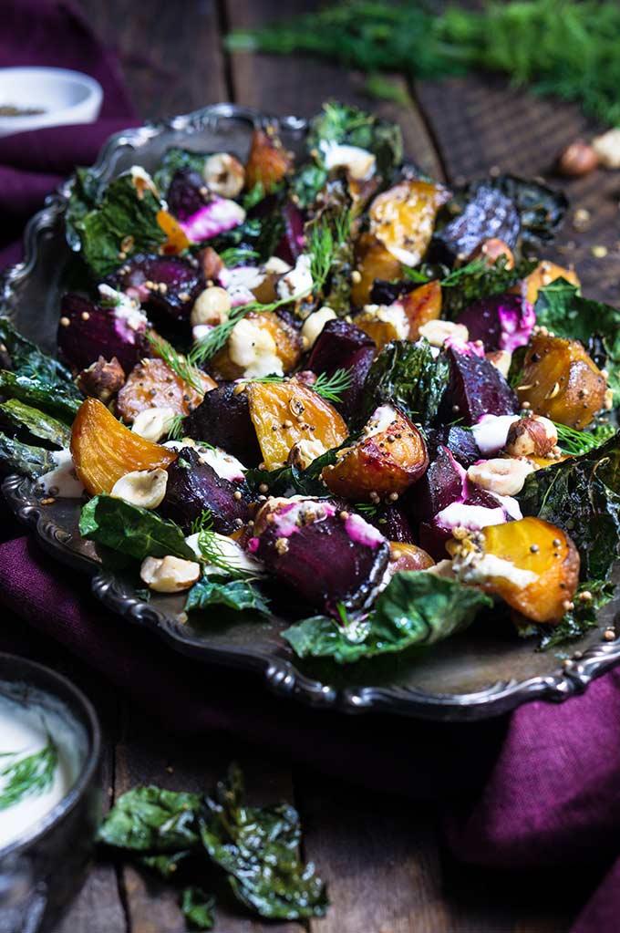 Roasted beet and kale salad with horseradish crema | www.viktoriastable.com
